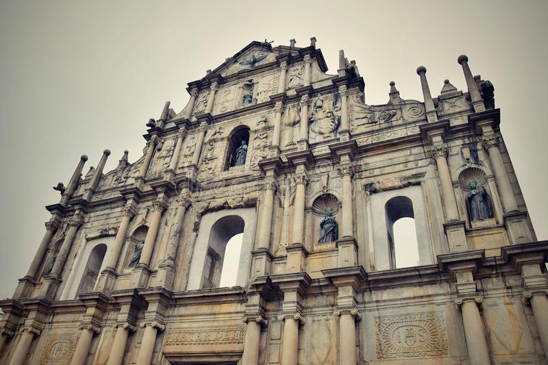 The ruins of St. Paul´s in Macao stock photography