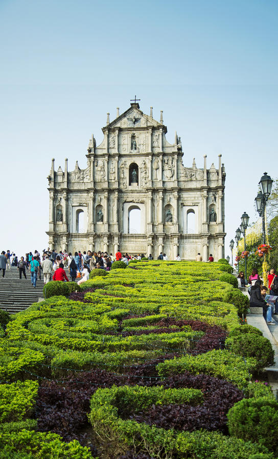Ruins of st paul's in macau china royalty free stock photography