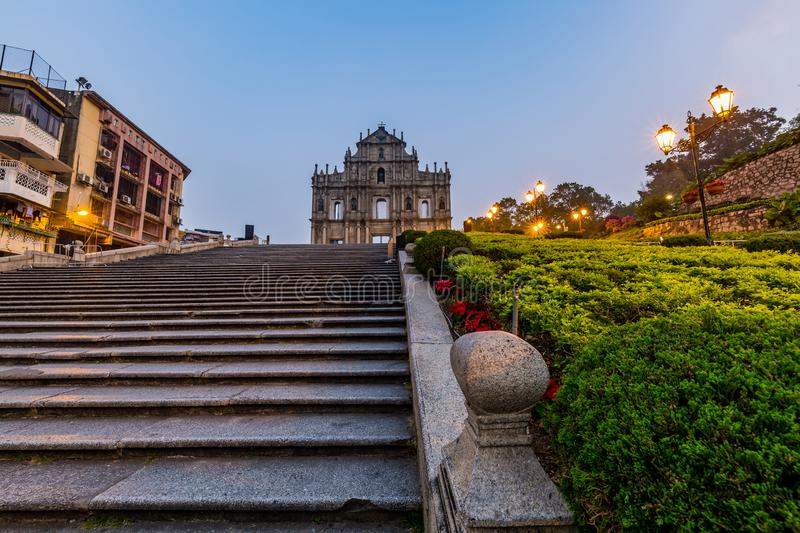 Ruins of St. Paul`s, Macau landmark, In 2005, they were officially listed as part of the Historic Centre of Macau, a UNESCO Worl. D Heritage Site, Macau, China royalty free stock image