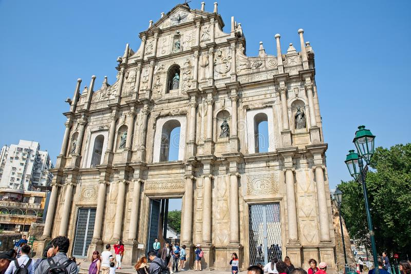 Ruins of st Paul`s in Macau. Macau Macao SAR / China - November 23, 2018: Ruins of St. Paul`s catholic church built in 1640, Macau`s best known landmark and royalty free stock photo
