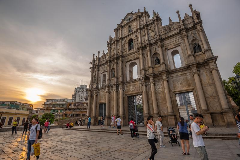 Ruins of St.Paul`s in Macau royalty free stock photography
