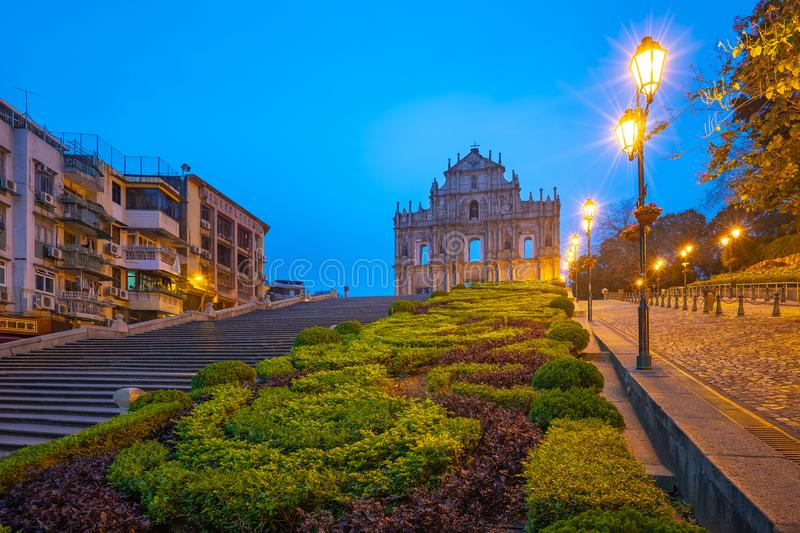 Ruins of St. Paul`s at night in Macao, China stock image