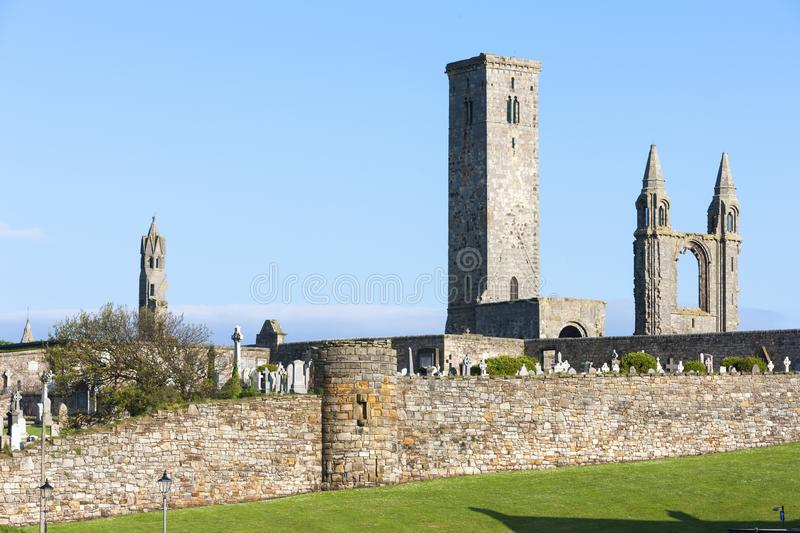 ruins of St. Rule& x27;s church and cathedral, St Andrews, Fife, Scot royalty free stock images