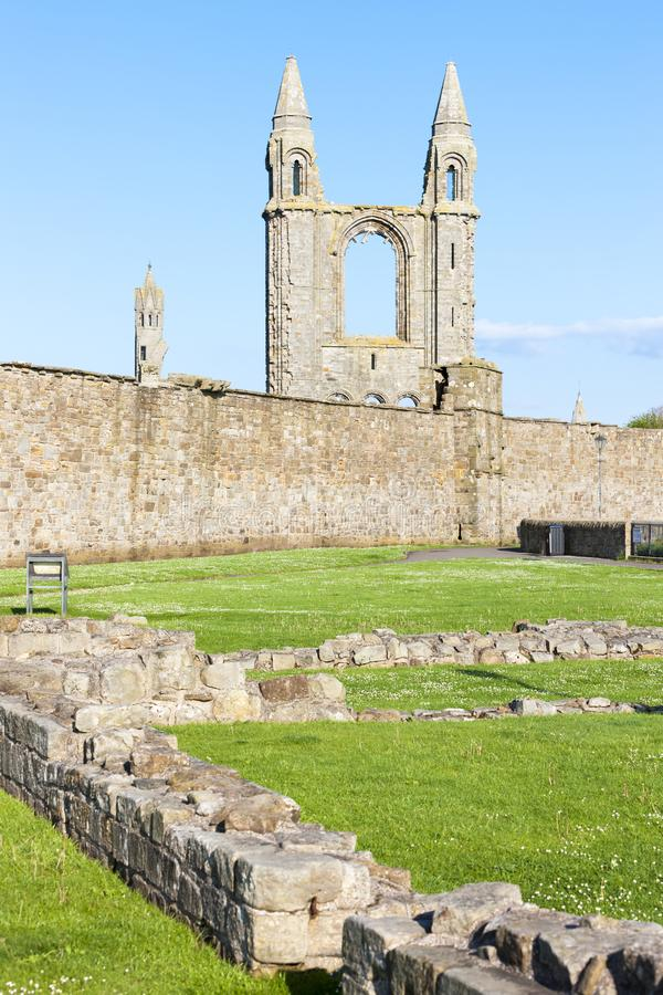 ruins of St. Rule& x27;s church and cathedral, St Andrews, Fife, Scot stock image