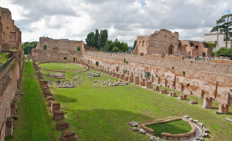 Ruins of Stadium Domitanus at the Palatine Hill in. View of Ruins of Stadium Domitanus at the Palatine Hill in Rome. Italy royalty free stock photos