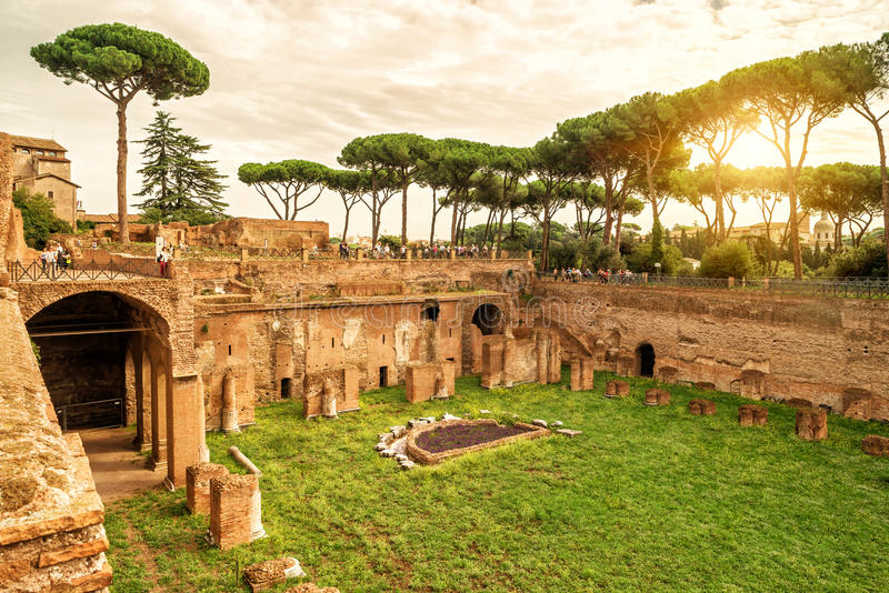 The ruins of the stadium of Domitian in Rome stock images
