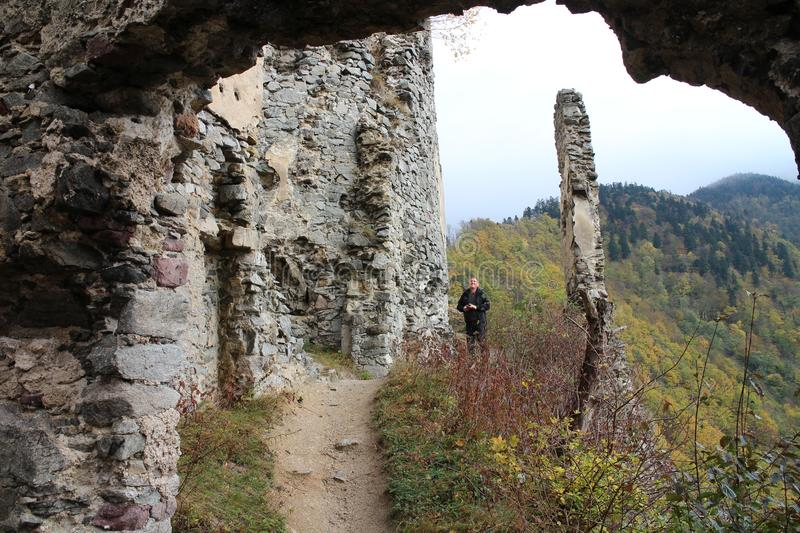 Ruins of Starhrad castle in Žilina region royalty free stock images