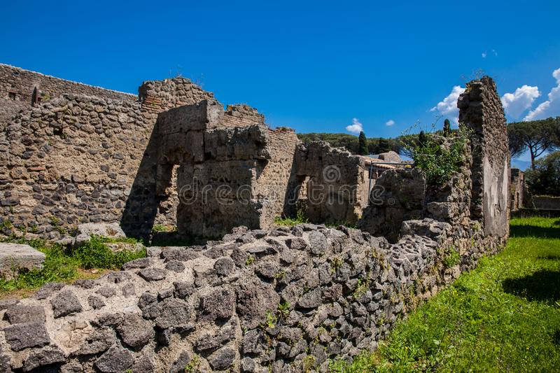 Ruins of the streets and houses in the ancient city of Pompeii. The ruins of the streets and houses in the ancient city of Pompeii royalty free stock photography