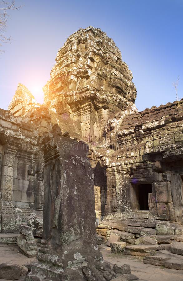 Ruins of Ta Prohm temple in Angkor Wat Siem Reap, Cambodia,12th century royalty free stock photo