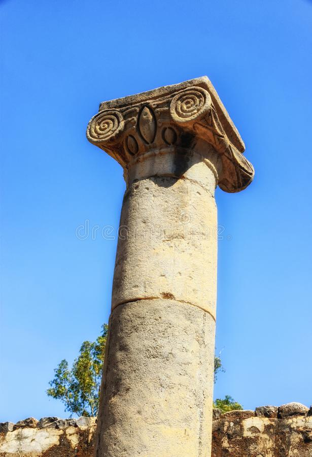 The ruins of the talmudic Synagogue at Katzrin Archaeological Park. Israel,Golan Heights, the ruins of the talmudic Synagogue at Katzrin Archaeological Park stock photography