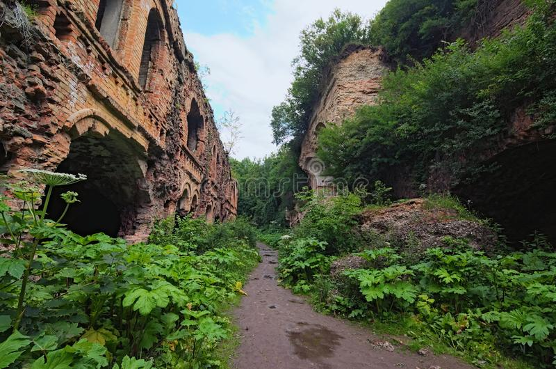 Ruins of Tarakanivskiy Fort- fortification, architectural monument of 19th century. Tarakaniv, Rivne oblast, Ukraine.  royalty free stock photo