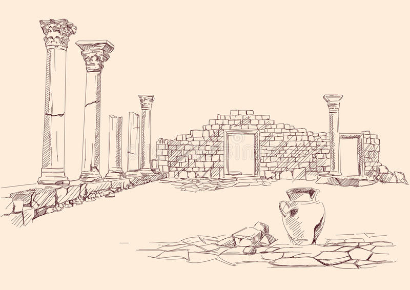 Ruins Of Temple  Archaeology Hand Drawn Stock Image