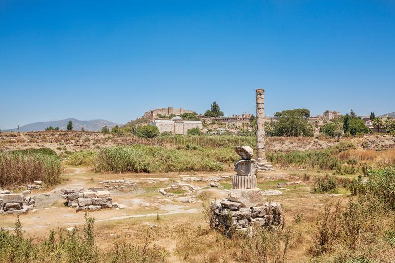 Ruins of Temple of Artemis at Ephesus. Selcuk in Izmir Province. Turkey. Ruins of Temple of Artemis at Ephesus. Selcuk in Izmir Province, Turkey stock images