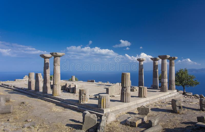 Temple of Athena in Assos, Canakkale, Turkey. Ruins of the Temple of Athena in Assos, Canakkale, Turkey stock photography