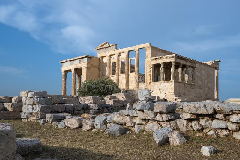 Ruins of the Temple of Erechtheion at the Acropolis hill in Athens royalty free stock photos