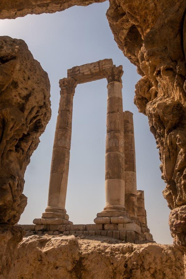 The Temple of Hercules, at Amman Citadel, Jordan stock image