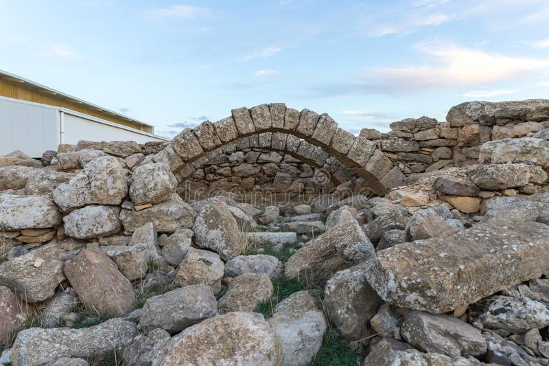 The ruins of Temple on the historical archaeological site Umm ar-Rasas near Madaba city in Jordan. Madaba, Jordan, December 05, 2018 : The ruins of Temple on the royalty free stock image