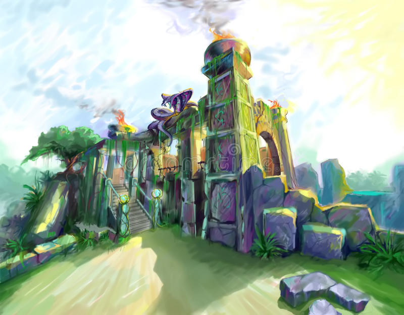 The ruins of the temple vector illustration