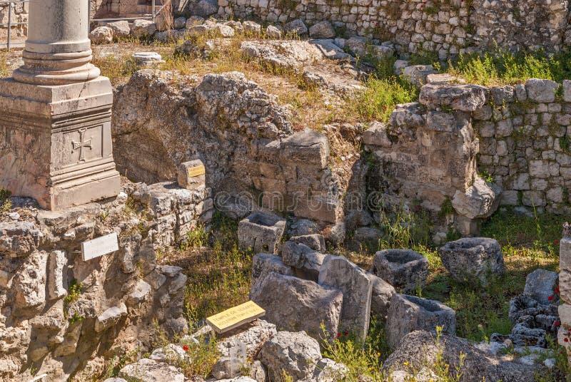 Ruins Temple of Serapis in Jerusalem royalty free stock image
