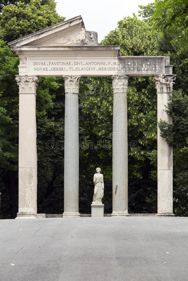 Ruins of a temple in Villa Borghese public park in Rome stock images