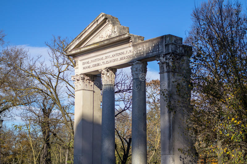 Ruins of a temple in Villa Borghese public park in Rome. royalty free stock photo