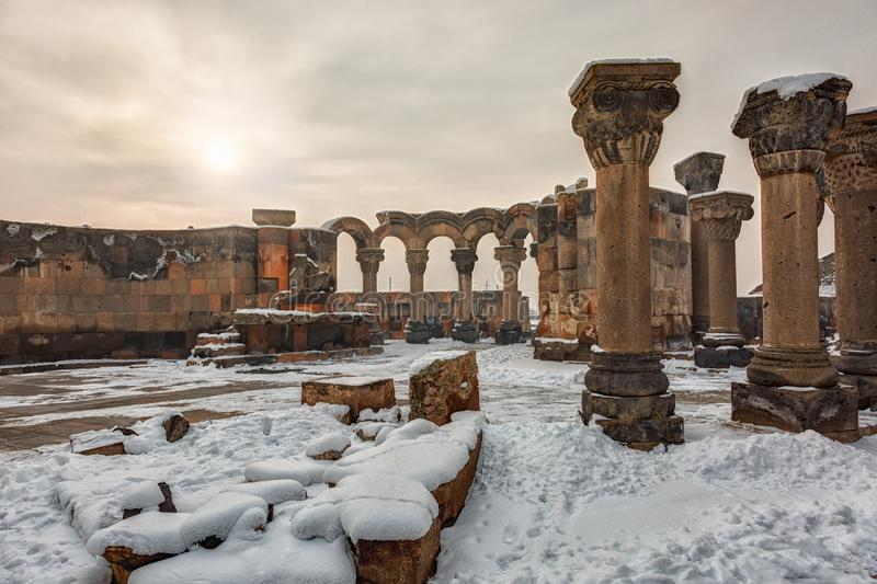 Ruins of the Temple of Zvartnots. In Yerevan, Armenia stock images