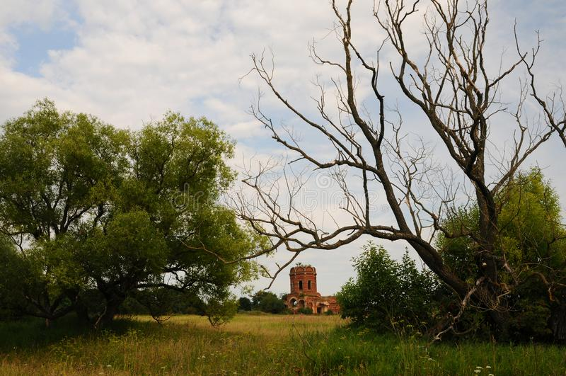 Tinder and church ruins royalty free stock image