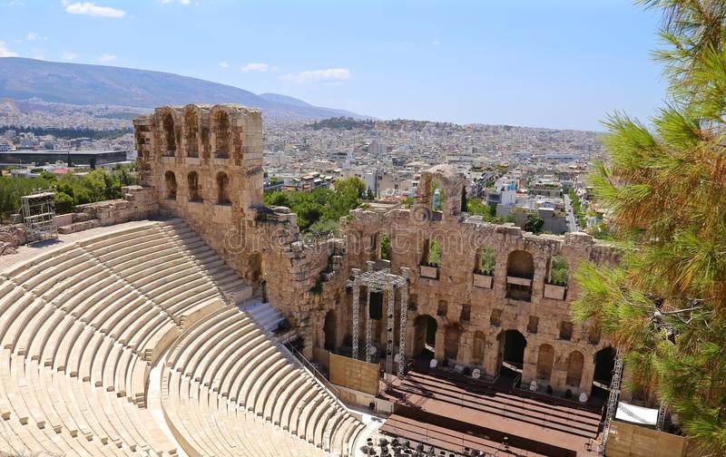 Ruins of the theater of Dionysus stock photography