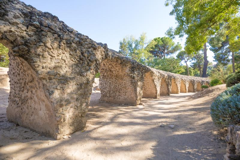 Ruins of the tiers of ancient Roman circus in Toledo royalty free stock image