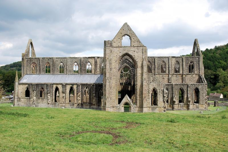 Ruins of Tintern Abbey - village of Tintern Monmouthshire - Wales. Cistercian Abbey of Tintern - Abaty Tyndyrn - ruins of a church and monastery - village of royalty free stock photos