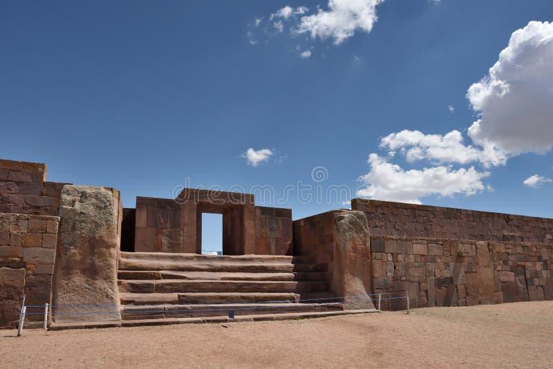 Ruins of Tiwanaku, western Bolivia. Ruins of Tiwanaku. Tiwanaku is a Pre-Columbian archaeological site in western Bolivia stock photography