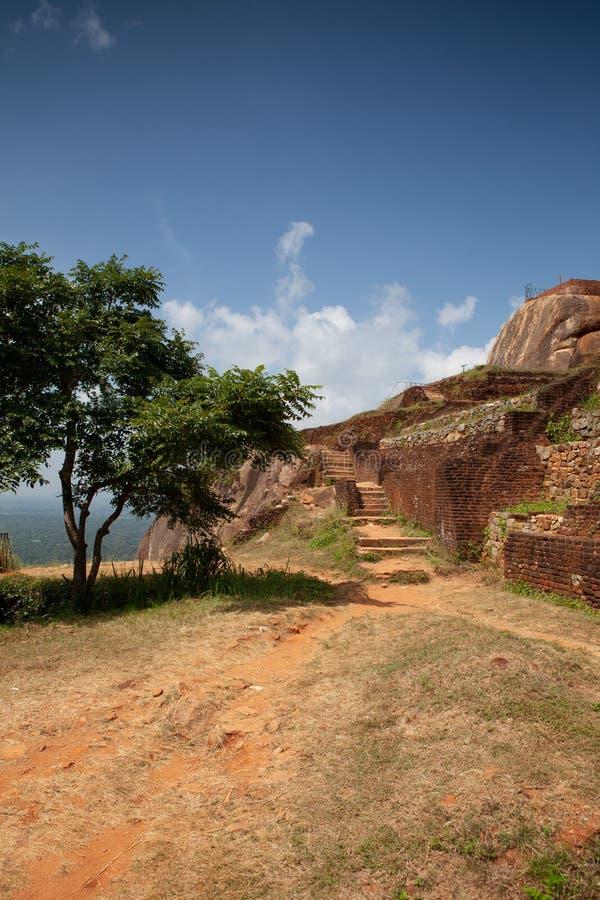 Ruins on top of Sigiriya Lion`s rock palace and fortress.Sri Lanka royalty free stock images