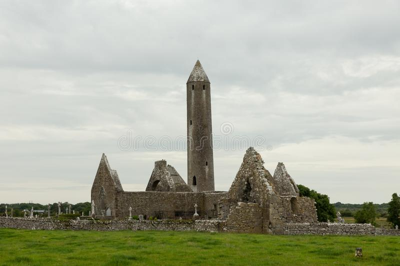 Ruins of a tower and church. Ruins of a church and a tower on the 11th century monastic site of Kilmacduagh, Ireland royalty free stock photo