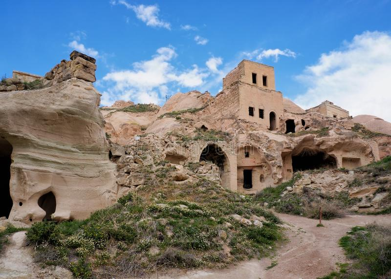 Ruins of traditional cave houses royalty free stock images