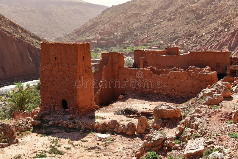Ruins of traditional mudbrick house in Morocco royalty free stock image