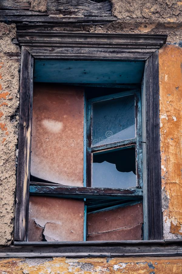 Ruins of Traditional Window Waiting for Renovation in Eskisehir. Ruins of Traditional Turkish window waiting for renovation in Eskisehir royalty free stock image