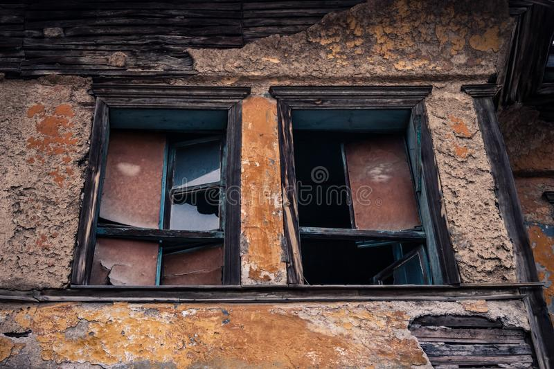 Ruins of Traditional Window Waiting for Renovation in Eskisehir. Ruins of Traditional Turkish window waiting for renovation in Eskisehir stock image