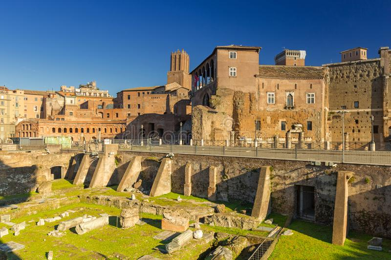 Ruins of the Trajan Forum in Rome, Italy royalty free stock photography