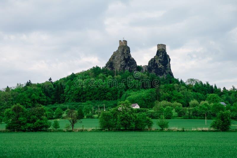 Ruins of Trosky castle in Bohemian Paradise region, Czech Republic, Europe stock image