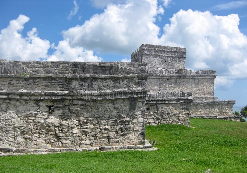 Ruins at Tulum Archaeological Site on Mexico`s Caribbean Coast royalty free stock photography