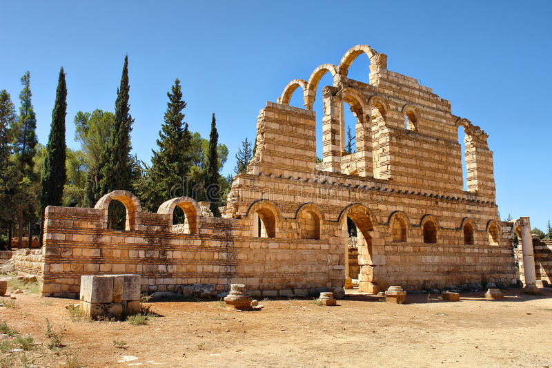 Ruins of the Umayyad city of Anjar stock images