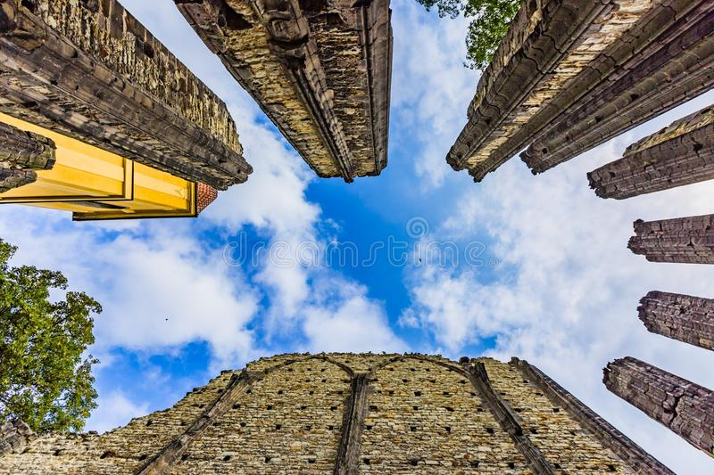 Ruins of the unfinished Gothic church of Virgin Mary. Panensky Tynec, Czech Republic - July 15 2019: Ruins of the unfinished Gothic church of the Virgin Mary stock photography