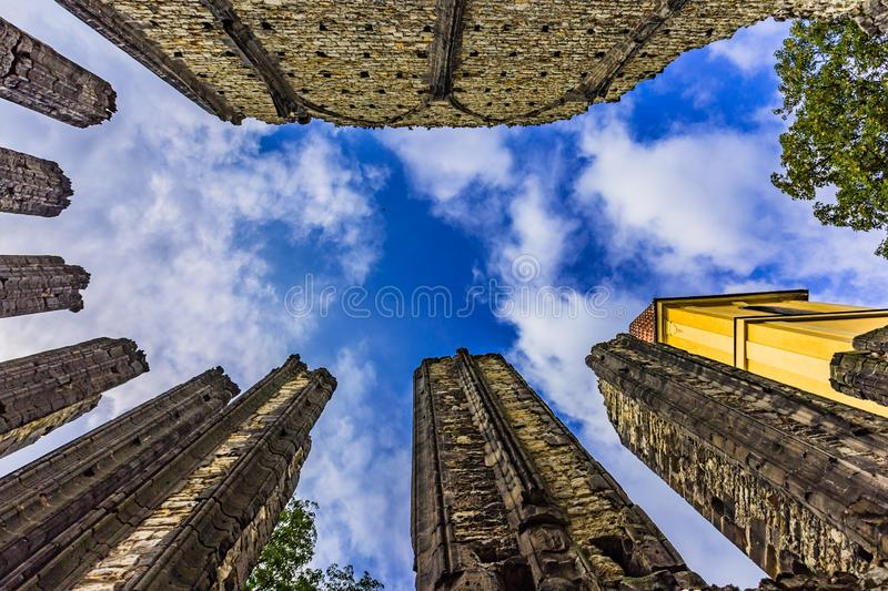 Ruins of the unfinished Gothic church of Virgin Mary. Panensky Tynec, Czech Republic - July 15 2019: Ruins of the unfinished Gothic church of the Virgin Mary royalty free stock photography