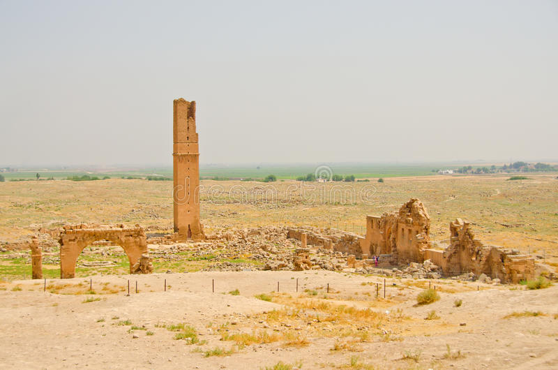Ruins of the University at Harran, Turkey. Archaeological remains of ancient Harran, a major commercial, cultural, and religious center first inhabited in the stock image