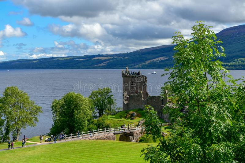 The ruins of Urquhart Castle on the shores of Loch Ness in Scotland royalty free stock photography