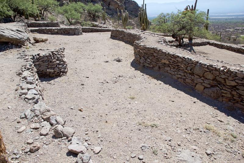 Ruins van Quilmes in de provincie Calchaqui Valleys, provincie Tucuman, Argentinië stock afbeeldingen