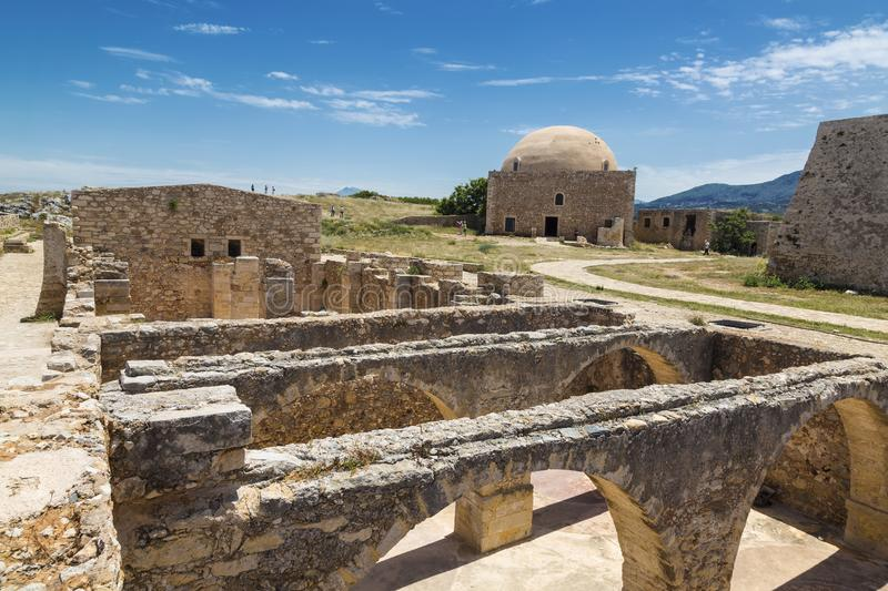 Ruins of the Venetian castle Fortezza in Rethymno, Crete stock images