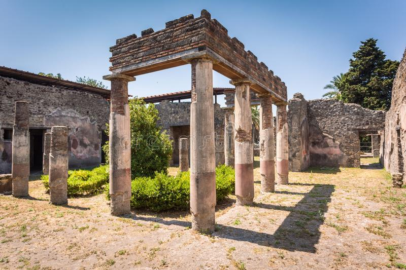 Ruins of Villa of Diomedes in Pompeii royalty free stock photos