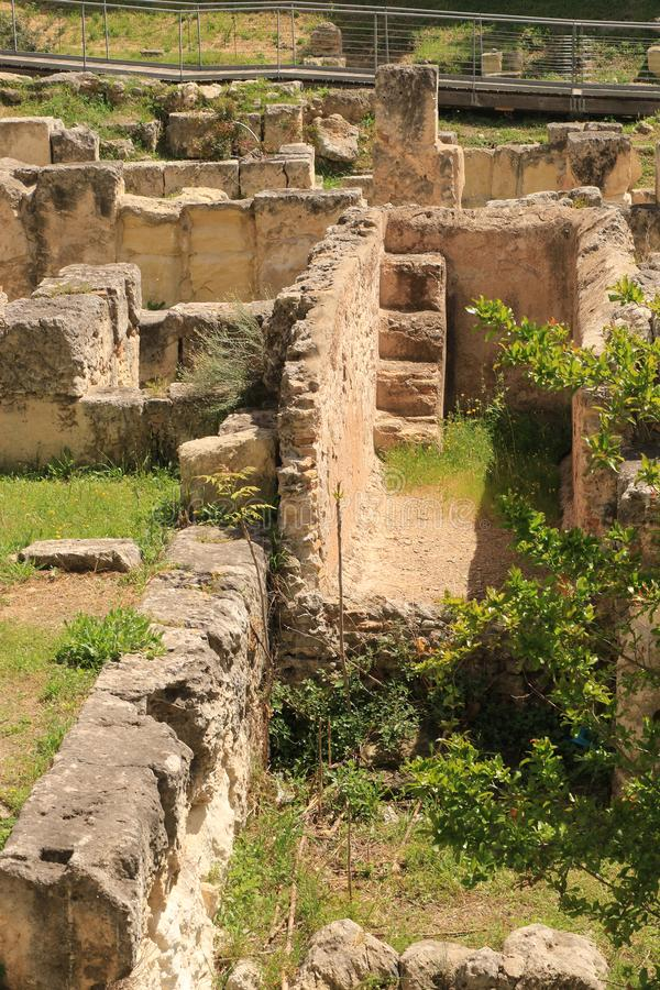 Ruins of Villa Tigellio. The complex known as the Villa of Tigellius, since it was originally attributed to the bard of the same name, a contemporary of Augustus stock photo