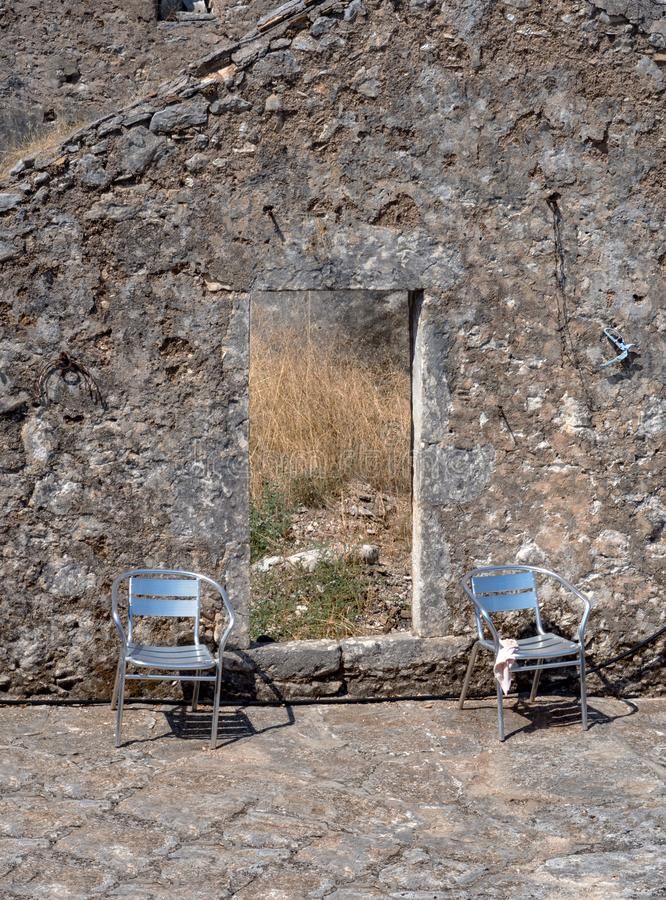 Ruins of a village destroyed by a terrible earthquake on the Greek island of Kefalonia, Greece in the Ionian Sea stock photography